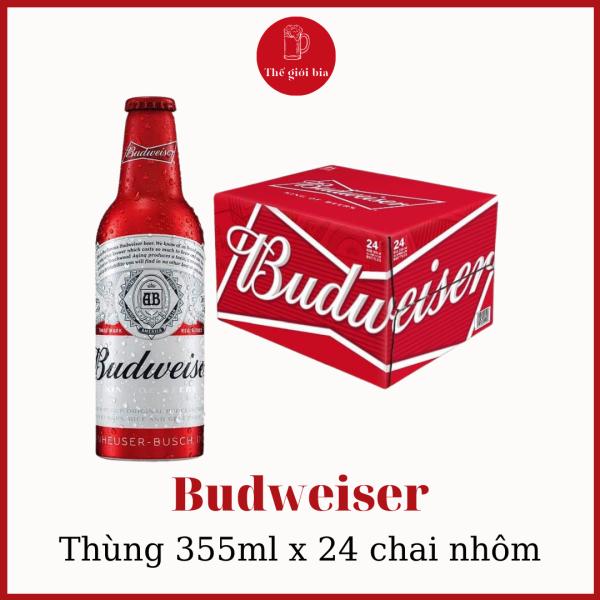 Bia Budweiser 355ml x 24 chai nhôm   Chính hãng date dài