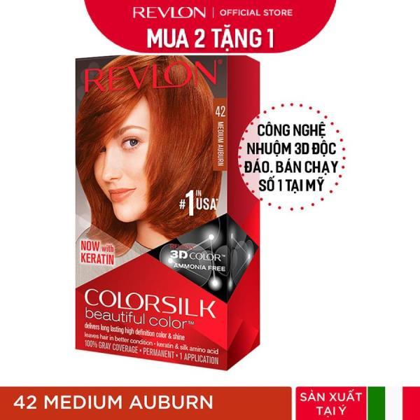 [Mua 2 tặng 1] Nhuộm tóc thời trang Revlon Colorsilk 3D - 42 Medium Auburn - Nâu Đỏ Vừa + Tặng 01 Khẩu Trang