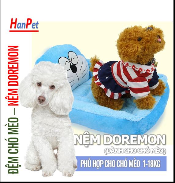 HCM - Nệm ngủ hình giường doremon ấm áp cho thú cưng - ổ chó, ổ mèo kích thước 3 size