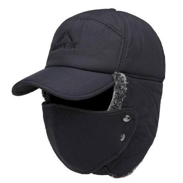 Mũ chống nắng trùm đầu kèm khẩu trang Chống tia UV, bảo vệ da mặt vùng cổ và mặt, Màu đen, Mũ lót lô