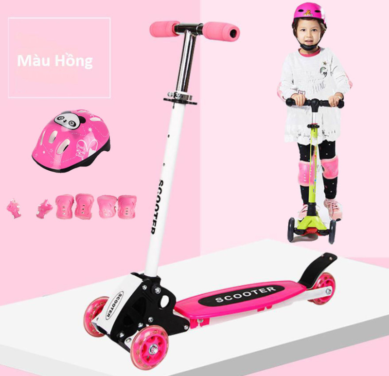Giá bán Xe Trượt Scooter Trẻ Em 3 Bánh Mẫu Mới + Tặng Kèm Bộ Bảo Hộ (Chân Tay Và Mũ Bảo Hiểm)