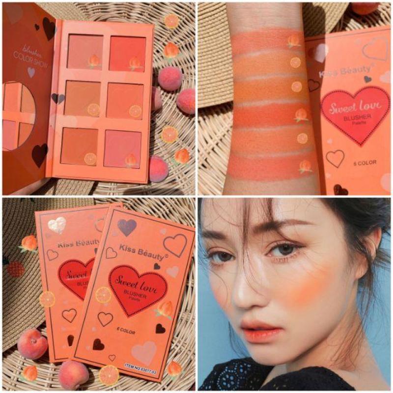 Bảng 6 ô má hồng Kiss Beauty, Phấn má Kiss Beauty 6 ô, Má hồng Kiss Beauty Sweet Love Blusher Palette siêu xinh