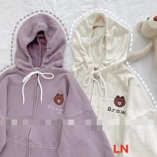 Áo khoá lô gô gấu brow LN11 , áo thun nam nữ, quần kaki, quần nữ, sét bộ mặc ở nhà, áo thun tay dài, quần jean ống rộng MODY thumbnail