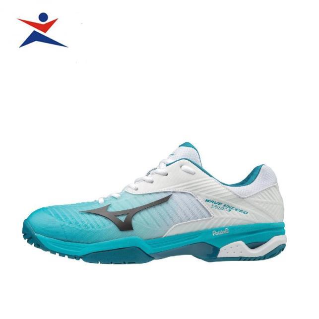 Giày tennis thể thao nam Mizuno 61GA187035 màu xanh phối trắng đẳng cấp thời thượng ,cực nhẹ, êm và khớp bàn chân dưới giúp thoải mái di chuyển dành cho nam giá rẻ