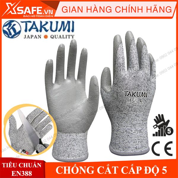 Găng tay chống cắt Takumi P-775 cấp độ 5 độ khéo léo cao - lòng bàn tay phủ Pu chống dầu, tăng độ bám găng tay bảo hộ lao động chuyên dụng làm việc với tôn thép, thủy tinh, cơ khí kỹ thuật,… CHÍNH HÃNG [XSAFE] [XTOOs]
