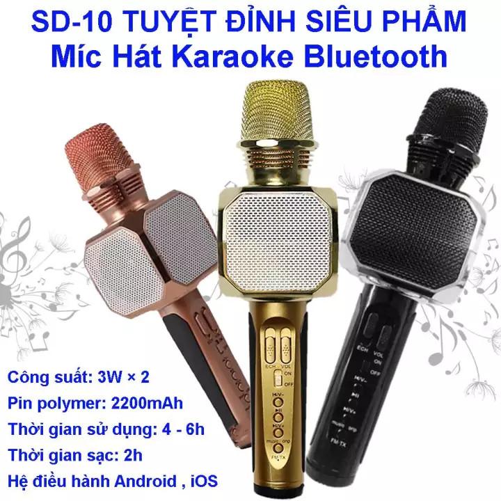 [MẪU MỚI 2021] Magic Karaoke SD-10 – Micro hát karaoke kèm loa bluetooth 3 trong 1 Micro Kèm Loa Bluetooth Karaoke Sd-10, Âm Thanh Sống Động , Bảo Hành Lên Đến 12 Tháng