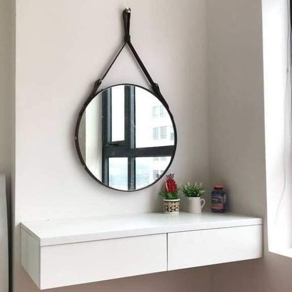 [Giá tận tâm] Gương tròn viền dây da treo tường - Full phụ kiện - Bao gãy vỡ khi vận chuyển 1 đổi 1