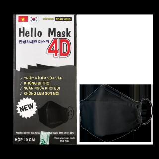 Khẩu trang kháng khuẩn 4D Hello Mask chống virus cao cấp - Hộp 10 cái - Đen thumbnail
