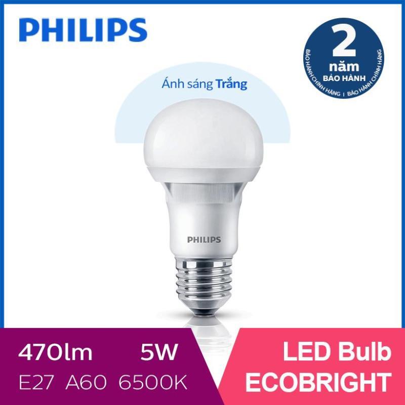 Bóng đèn Philips LED Ecobright 5W 6500K E27 A60 - Ánh sáng trắng