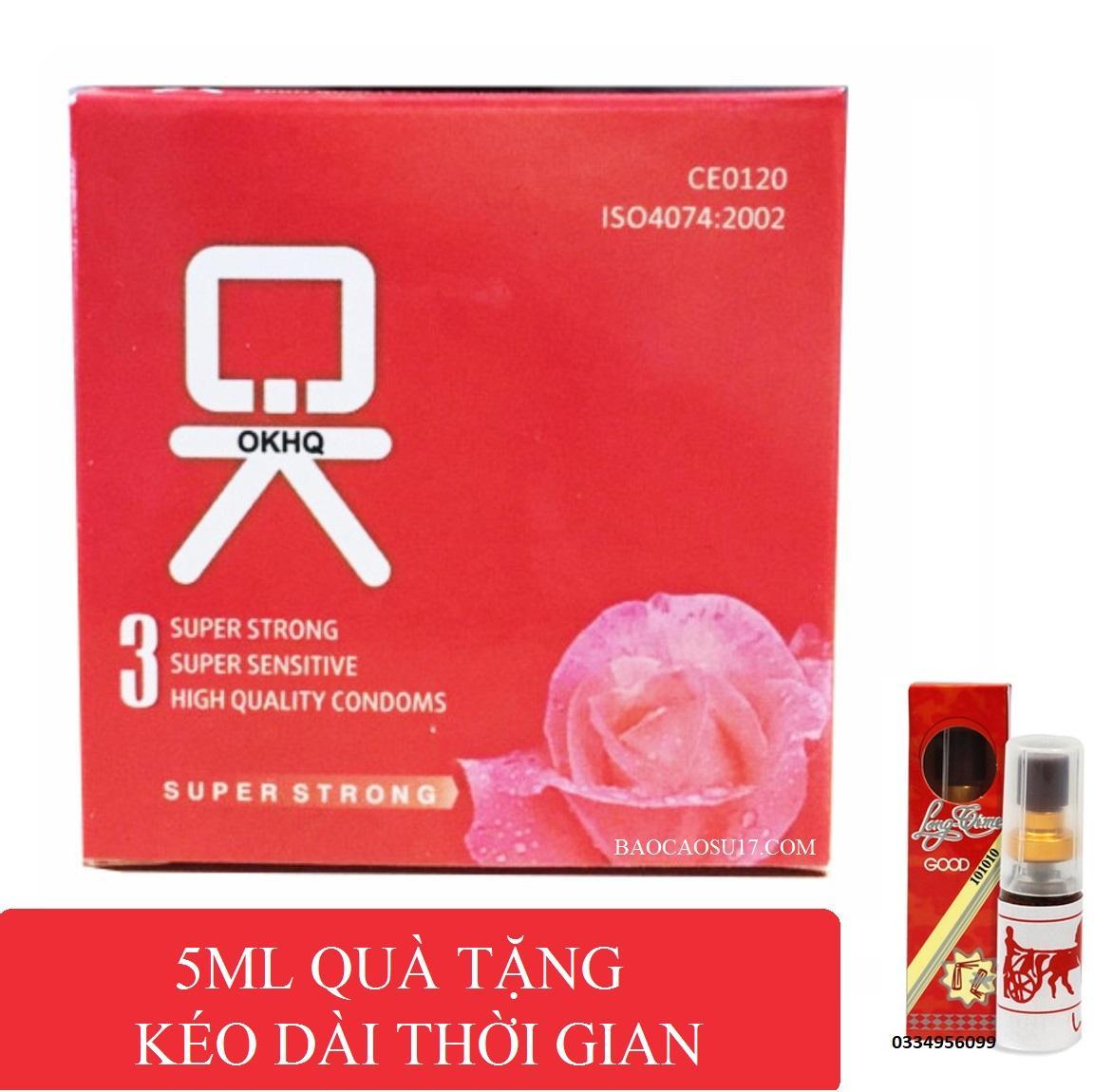 Bộ 1 hộp BCS OK tặng 1 Chai xịt Longtime đỏ kéo dài thời gian 5ml