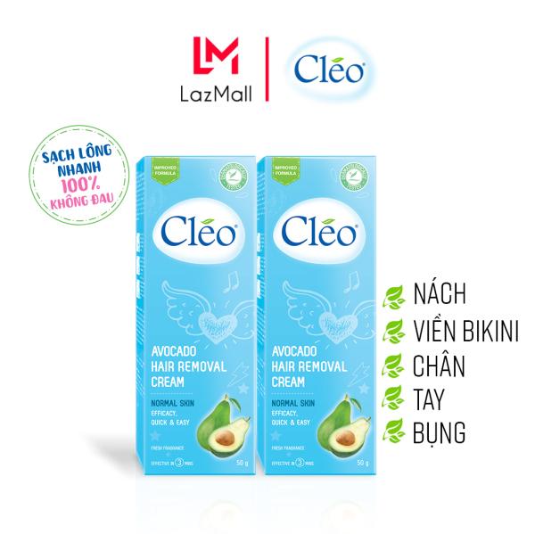 Combo 2 Hộp Kem Tẩy Lông Cho Da Thường Cleo Avocado Hair Removal Cream Normal Skin 50gx2, an toàn, không đau và đạt hiệu quả nhanh chóng