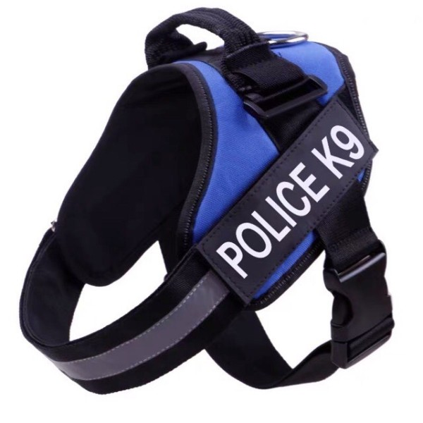 Đai lưng, dây yếm dắt chó police k9 viền phản quang