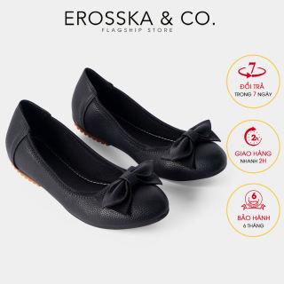 Giày búp bê Erosska thời trang mũi tròn đính nơ xinh xắn EF007 (BA)