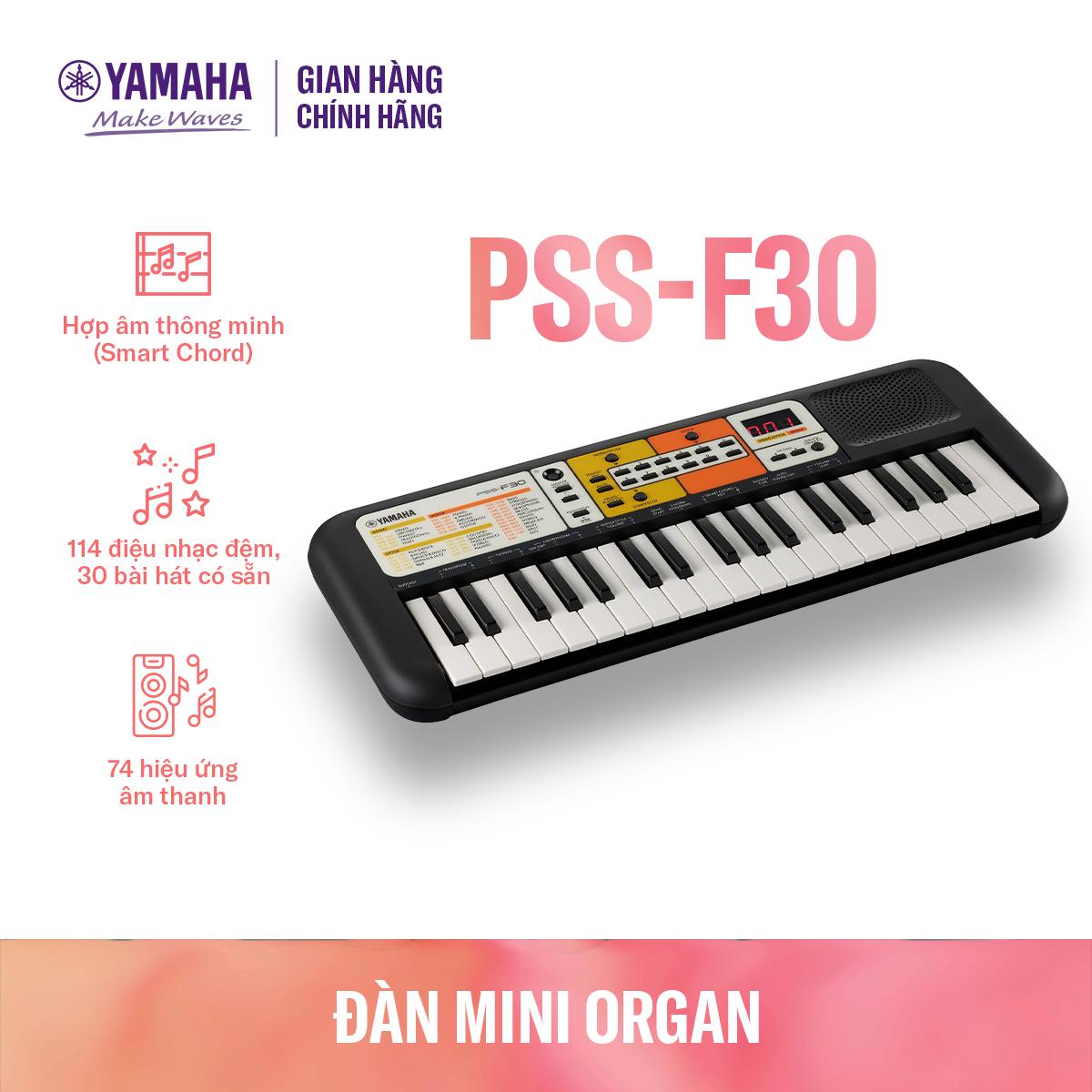 Đàn organ điện tử Yamaha cho trẻ em PSS-F30 - Bàn phím mini - 120 Tiếng nhạc - 114 điệu nhạc đệm - Giắc cắm loa và tai nghe tích hợp - Bảo hành chính hãng 12 tháng