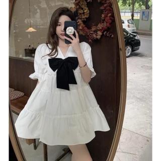 (Quà tặng là dây buộc tóc) Đầm babydoll gắn nơ cổ tim thời trang Hàn Quốc.Váy trắng xòe Vintage tiểu thư tinh khôi. Đầm Form rộng tay bồng bánh bèo dễ thương. Váy trắng nữ. Đầm xòe xinh nữ. Váy đầm công chúa dự tiệc, picnic. thumbnail
