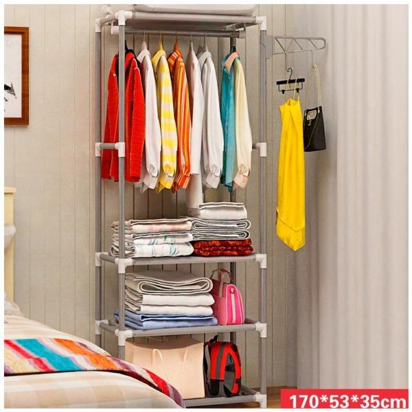 Kệ treo quần áo hình chữ H 4 tầng 3 ngăn đa năng có móc treo tiết kiệm không gian JJ0303