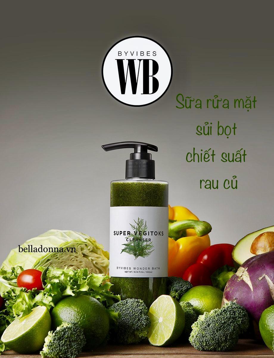 Sữa Rửa Mặt Rau Củ 3 in 1 Tẩy Trang - Rửa Mặt - Thải Độc Tố Byvibes Wonder Bath Super Vegitoks Cleanser 300ml