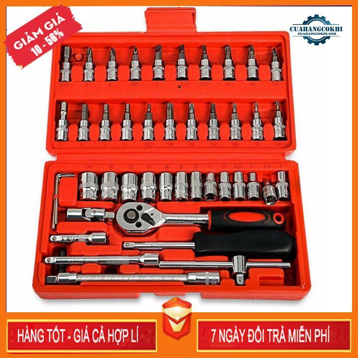 Bộ dụng cụ 46 chi tiết mở bu lông ốc vít, bộ dụng cụ sửa chữa ô tô xe máy, bộ dụng cụ đa năng