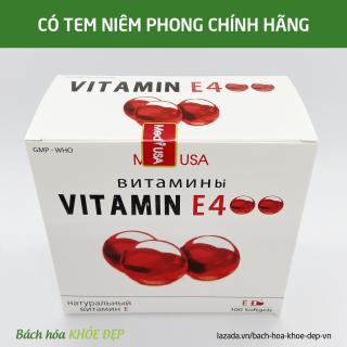 Viên Uống đẹp da Vitamin E Đỏ 4000mcg, Aloe vera 500mg chống lão hóa - Hộp 100 viên chống lão hóa da 2