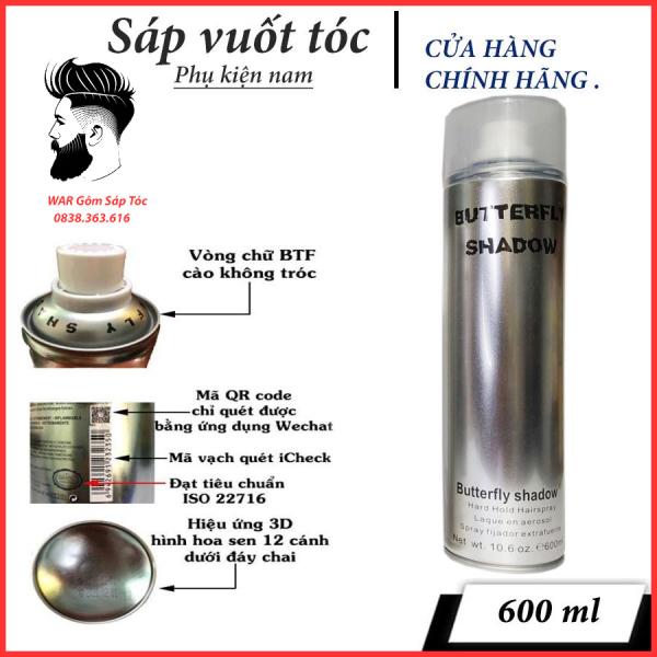 GÔM XỊT TÓC giữ nếp cứng (10-14h) ButterFly Shadow 600ml dành cho cả nam và nữ/ Keo xịt tóc/ Gel xịt tóc