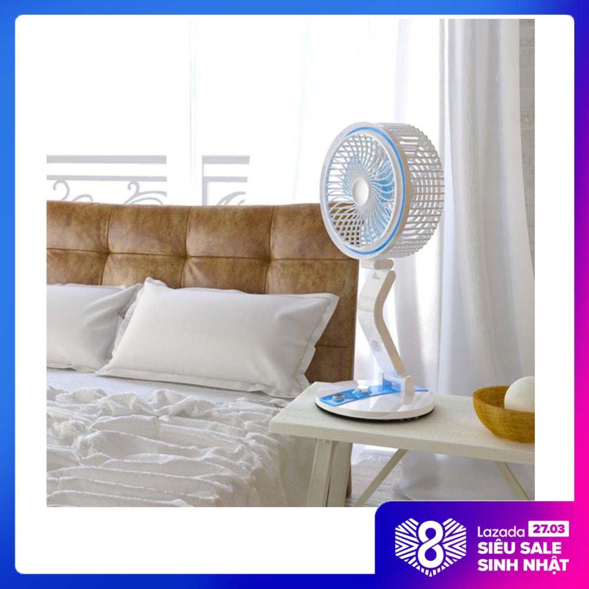 Quạt sạc điện loại tốt, Quạt tích điện có đèn LED gấp gọn Folding Fan - 2 in 1 Vô Cùng Tiện Ích. Bảo Hành 1 đổi 1 Toàn Quốc