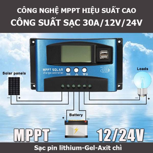 Bộ sạc pin năng lượng mặt trời 12V/24V công suất 30A công nghệ MPPT tự nhận bình 12v 24V