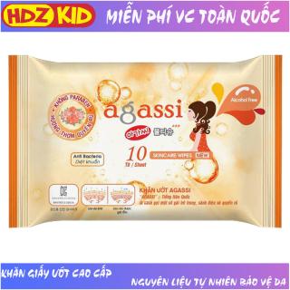 Khăn giấy ướt Agassi hương quyến rũ chống khô da không gây nhờn và kích ứng, giữ ẩm và làm mềm da, sử dụng như giấy khô đa năng, dùng tẩy trang lớp trang điểm, thích hợp da nhạy cảm, sử dụng hàng ngày và khi du lịch - HDZ KID thumbnail