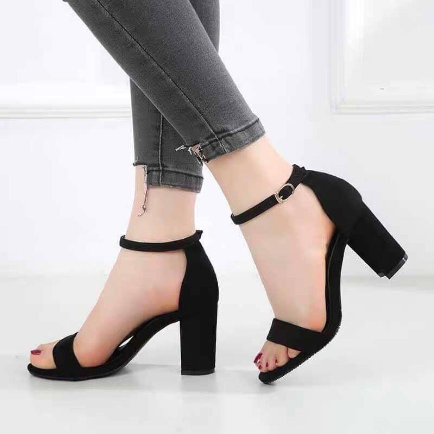 Giày Sandal Cao Gót Đế Vuông 7 Phân Quai Ngang Như Thảo Store giá rẻ