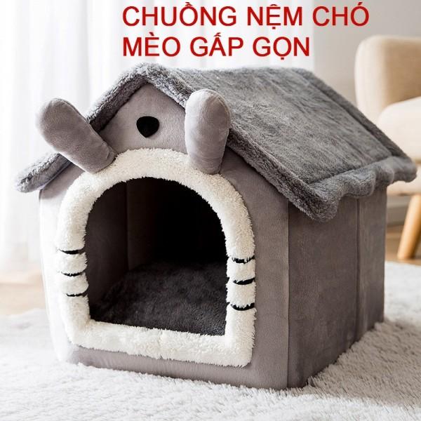 Chuồng nệm nhà cho chó mèo Hipipett gấp gọn tháo rời giặt giũ dễ dàng vải chenille xịn màu xám