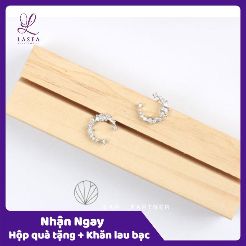 Siêu Giảm Giá Khi Mua Bông Tai Nữ Trang Sức Bạc Ý S925 Lasea - Hoa Tai Bạc Mặt Trăng Cách điệu L007