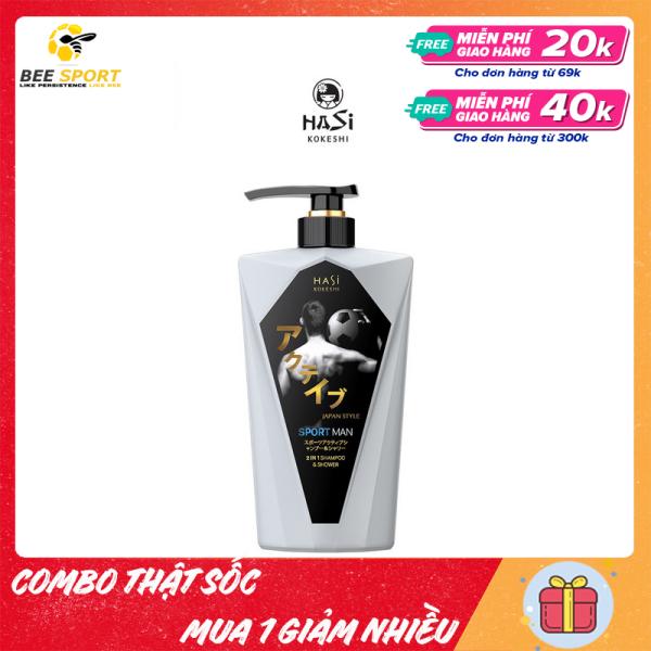 Dầu gội đầu kiêm sữa tắm nam HASI KOKESHI - chai 380g - Thương hiệu Nhật Bản - Dầu Tắm Gội Nam 2 Trong 1 Hasi Kokeshi Sport Active Shampoo & Shower cao cấp