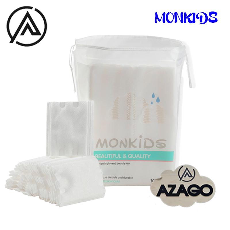 Bông tẩy trang 100% cotton 3 lớp mềm mịn thấm hút cực tốt 100 miếng/bịch - Thương Hiệu MONKIDS