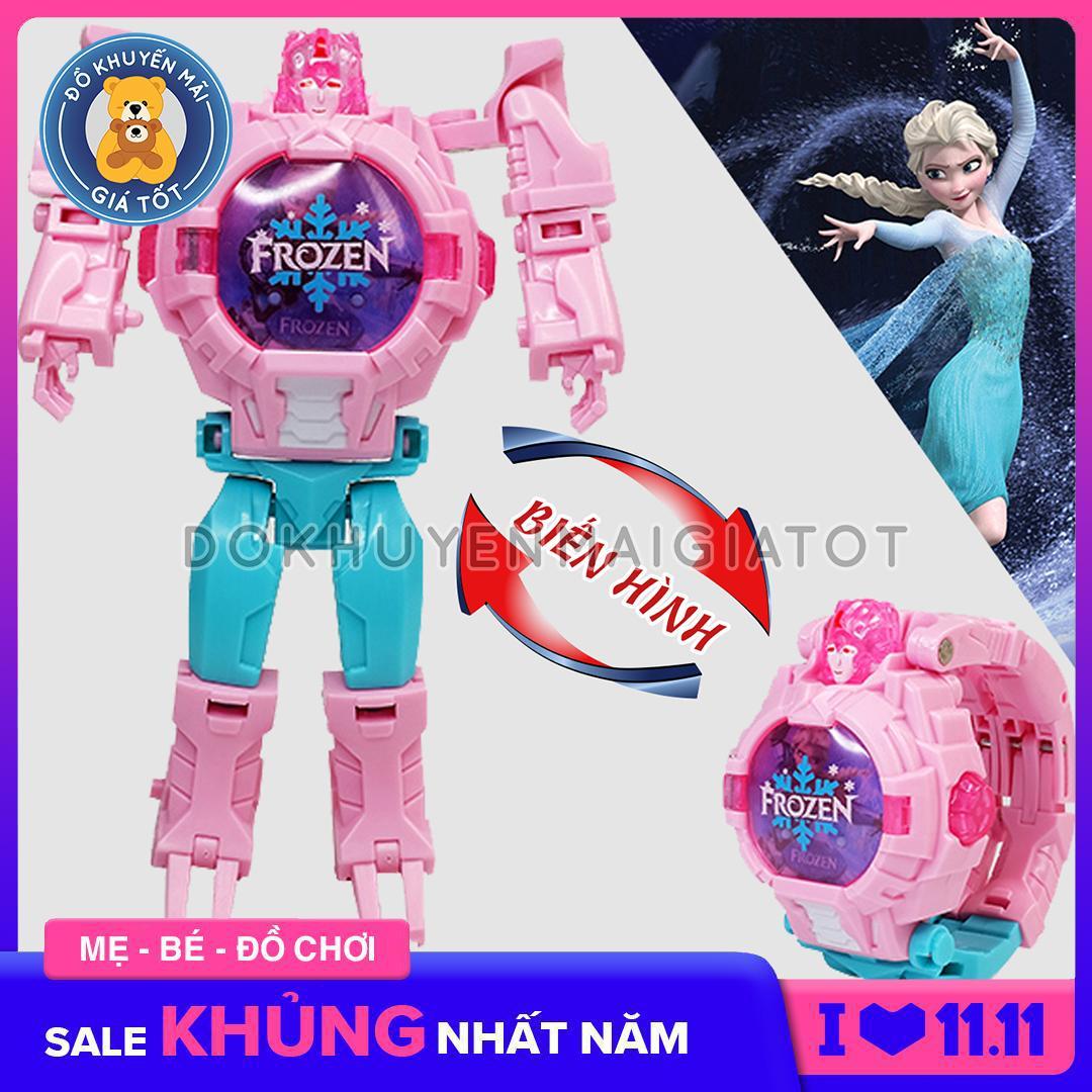 Đồ Chơi Robot biến hình đồng hồ đeo tay các nhân vật Siêu anh hùng Avenger / Elsa có Đèn
