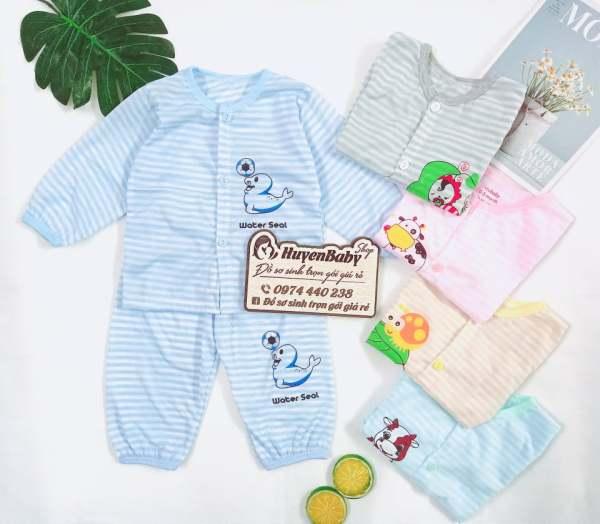 Bộ quần áo dài tay NouBaby (mẫu kẻ ) mềm mại, thấm hút mồ hôi cho bé sơ sinh từ 0 tháng đến 14 tháng