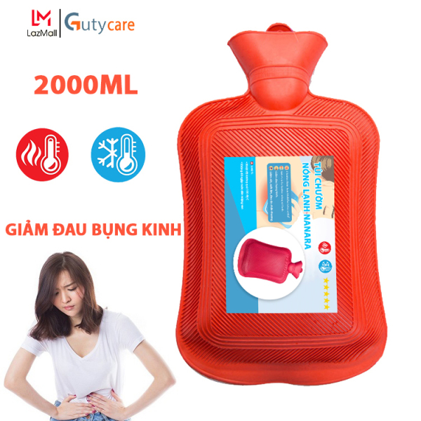 Túi chườm giảm đau bụng kinh, chườm nóng lạnh Nanara, túi giữ nhiệt đa năng giúp trườm giảm đau do chấn thương, đau lưng, hông, sưởi ấm, giảm sốt - Dung tích 2 lít - Guty Care cao cấp