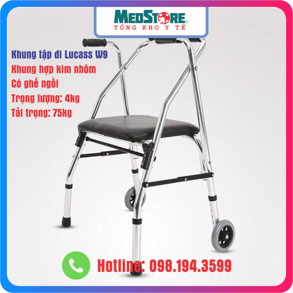 Khung tập đi có ghế ngồi Lucass W9 - Giành cho người già, người khuyết tật - TBYT Medstore