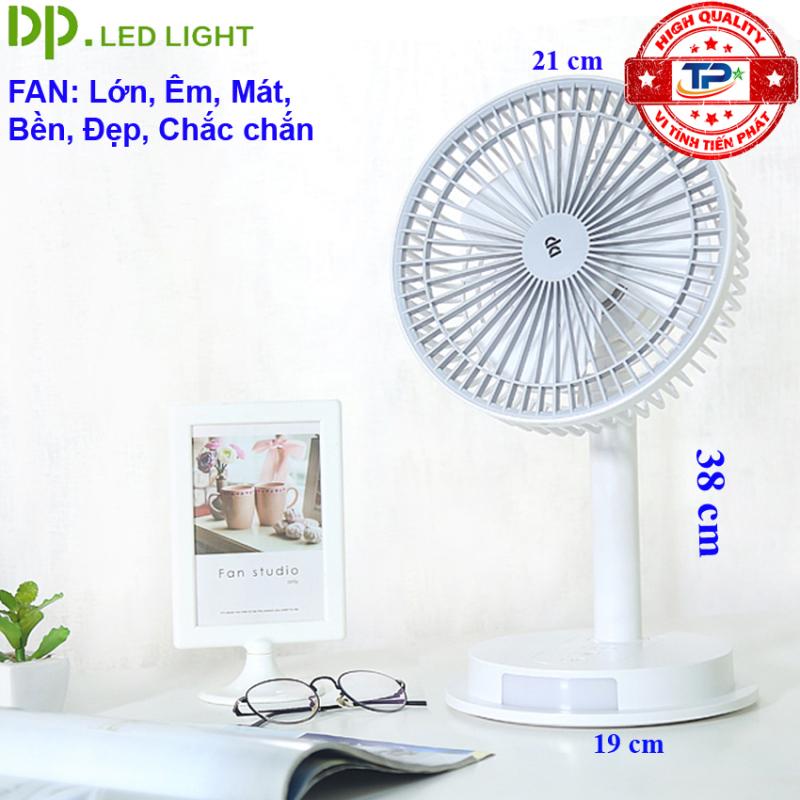Quạt sạc tích điện DP DP-7627 / DP-1434 tích hợp đèn LED chiếu sáng - loại quạt lớn gió rất mạnh