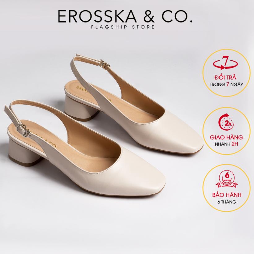 Giày nữ, giày cao gót thời trang Erosska mũi vuông phối dây quai mảnh kiểu dáng basic cao 5cm EL013 ( NU) giá rẻ