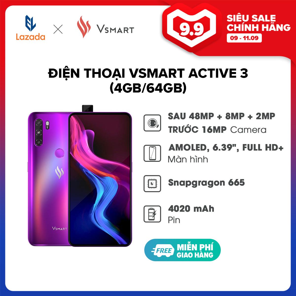 Điện Thoại Vsmart Active 3 (4GB/64GB) 2 sims, Thẻ nhớ ngoài MicroSD, hỗ trợ tối đa 256 GB , chip MediaTek Helio P60 8 nhân- Hàng Chính Hãng