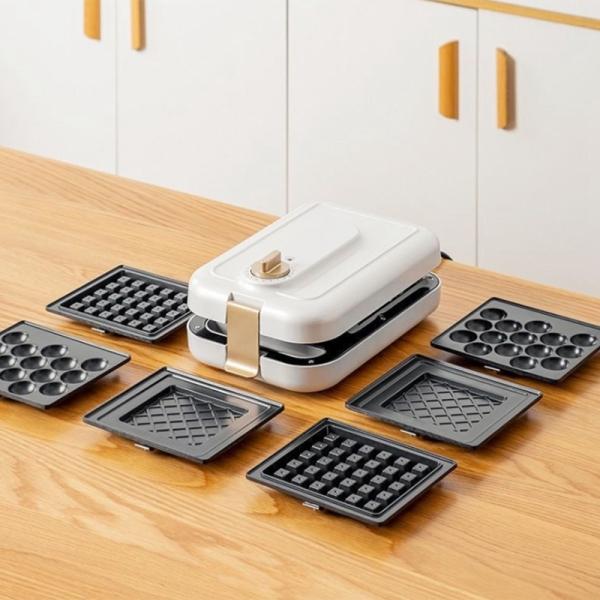 Sandwich Machine Multi-Function Breakfast Maker Household Timing Light Food Machine Bread Toaster,White,UK Plug