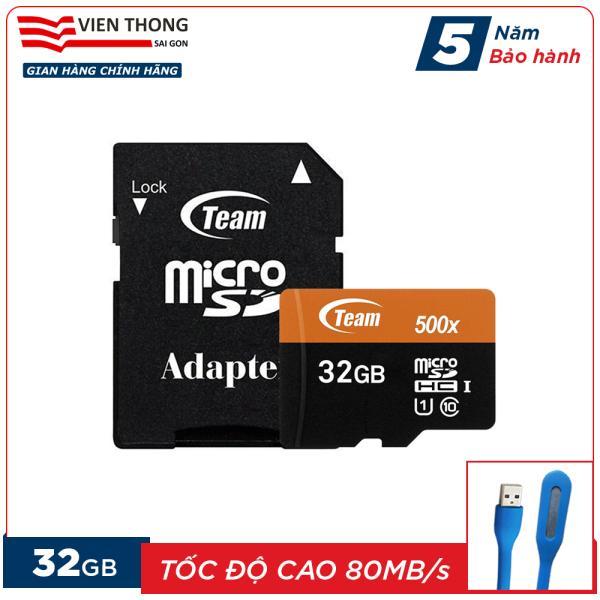 Thẻ nhớ 32GB microSDHC Team 500x upto 80MB/s class 10 U1 kèm Adapter (Cam) tặng đèn LED cổng USB - Hãng phân phối chính thức