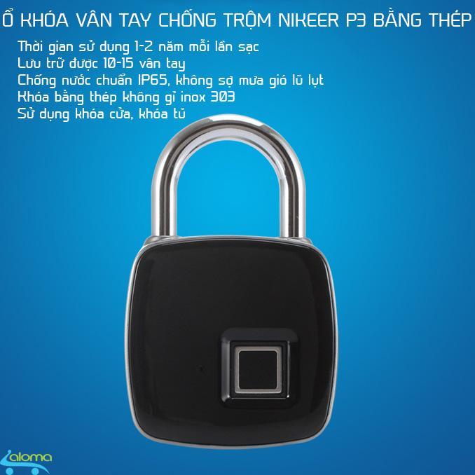 Ổ khóa vân tay Nikeer P3 bằng thép không gỉ chống nước chống phá khóa pin 2 năm