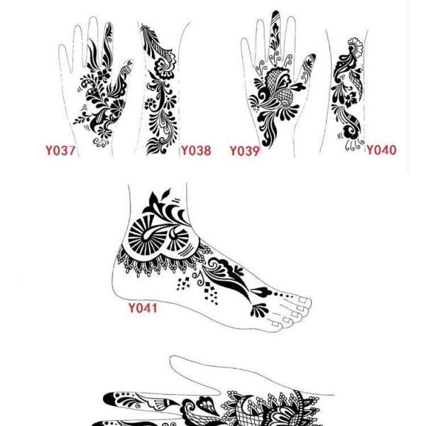 Hoa văn Ấn Độ 02 miếng khuôn vẽ henna trang trí cơ thể bàn tay hoặc chân tốt nhất