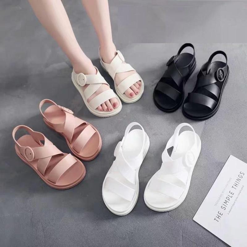 Sandal nữ dép thời trang nhựa dẻo đi mưa HAPU đen hồng kem