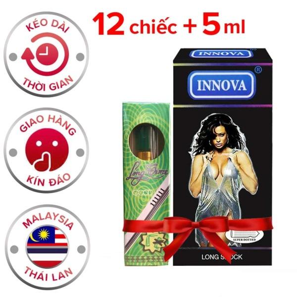 Bao cao su Innova 12s (Đen Siêu Gai) + Tặng chai Xịt Longtime Chống Xuất Tinh Sớm 5ml -