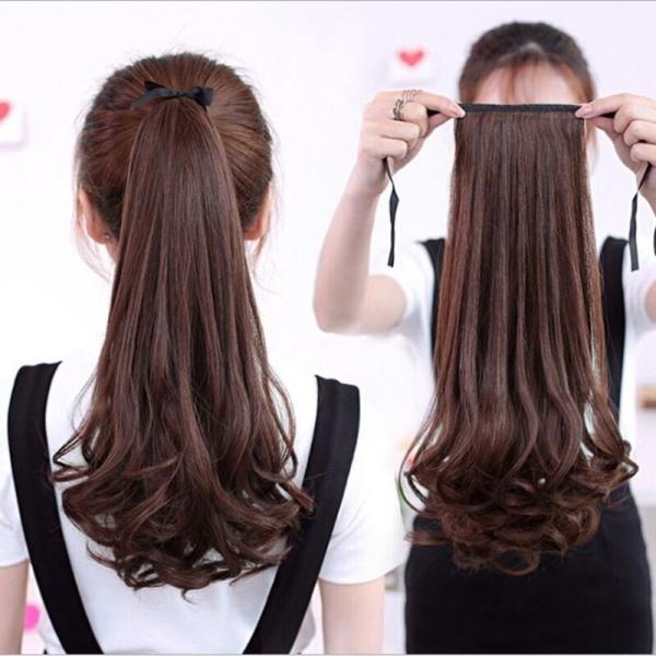 Cột tóc giả xoăn đuôi 40cm