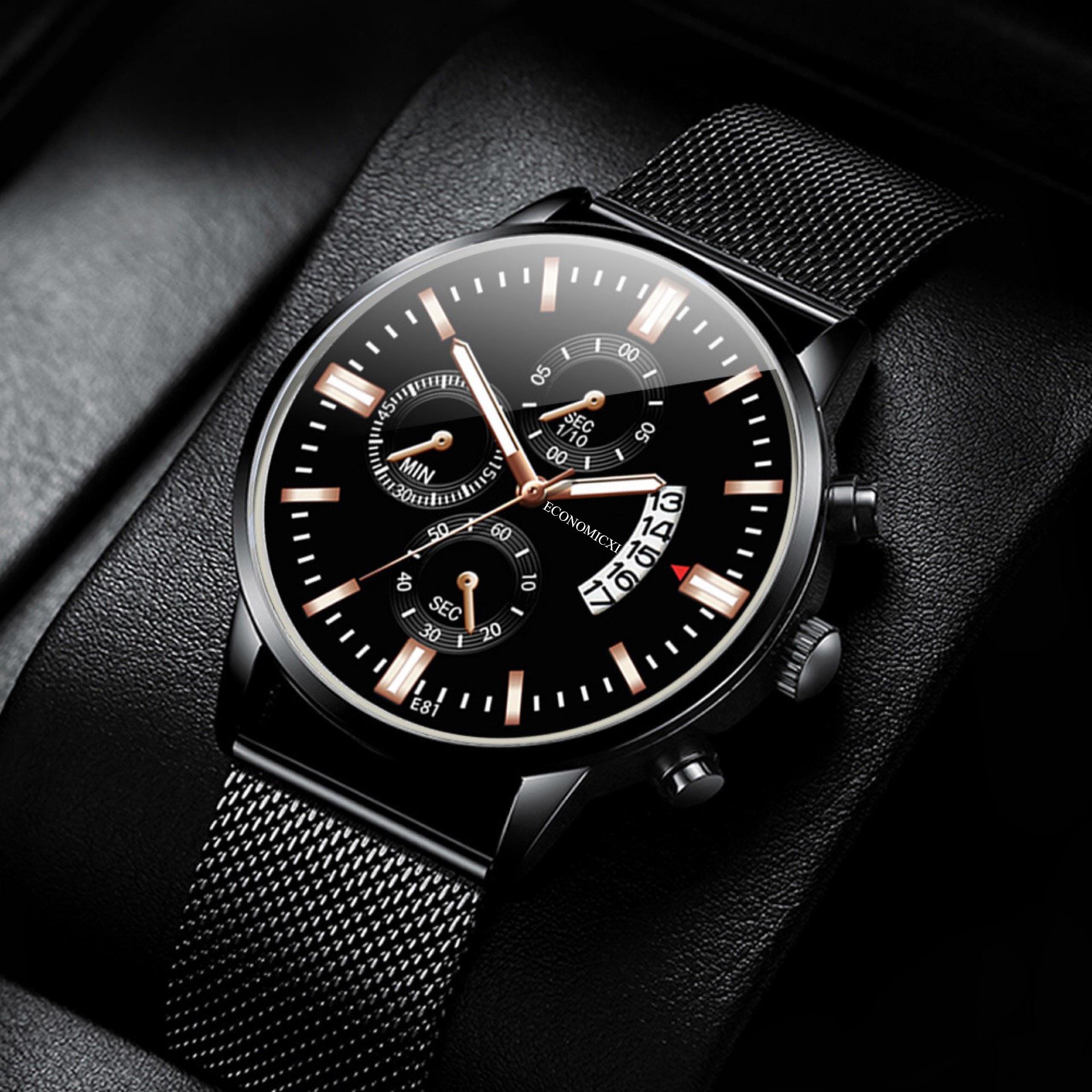 Đồng hồ nam dây thep lụa đen ECONOMICXI chạy lịch ngày cao cấp (Full hộp) ECNI02