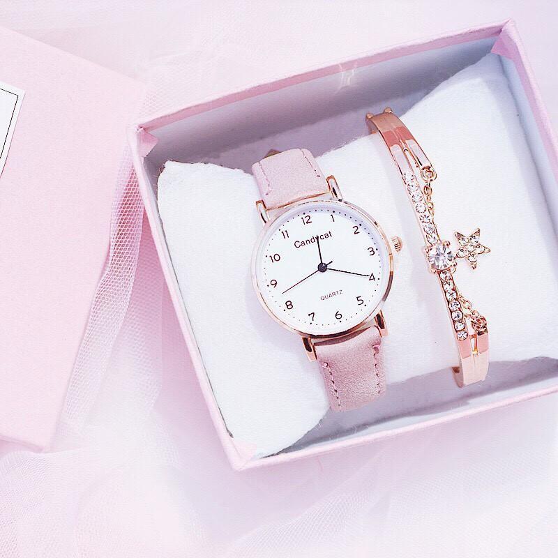 Nơi bán (Tặng kèm hộp và pin) Đồng hồ thời trang nữ Candycat mặt số dây da nhung LLQQ612