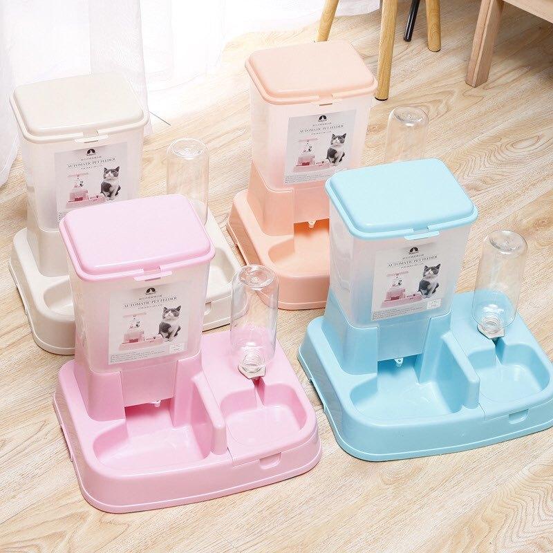 Bộ bình đựng thức ăn + bình nước  cho chó mèo tự động