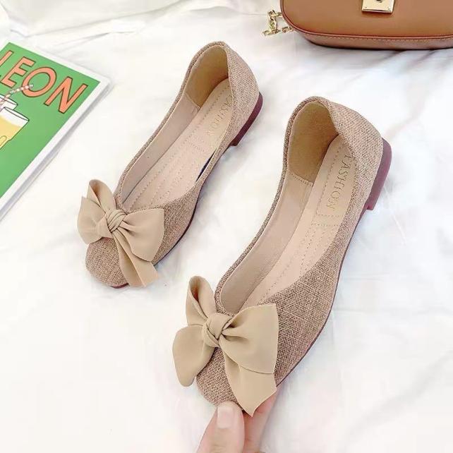 Giày bệt nữ, giày búp bê nữ chất dạ màu nâu tây thắt nơ cực xinh ( có video thật ) giá rẻ